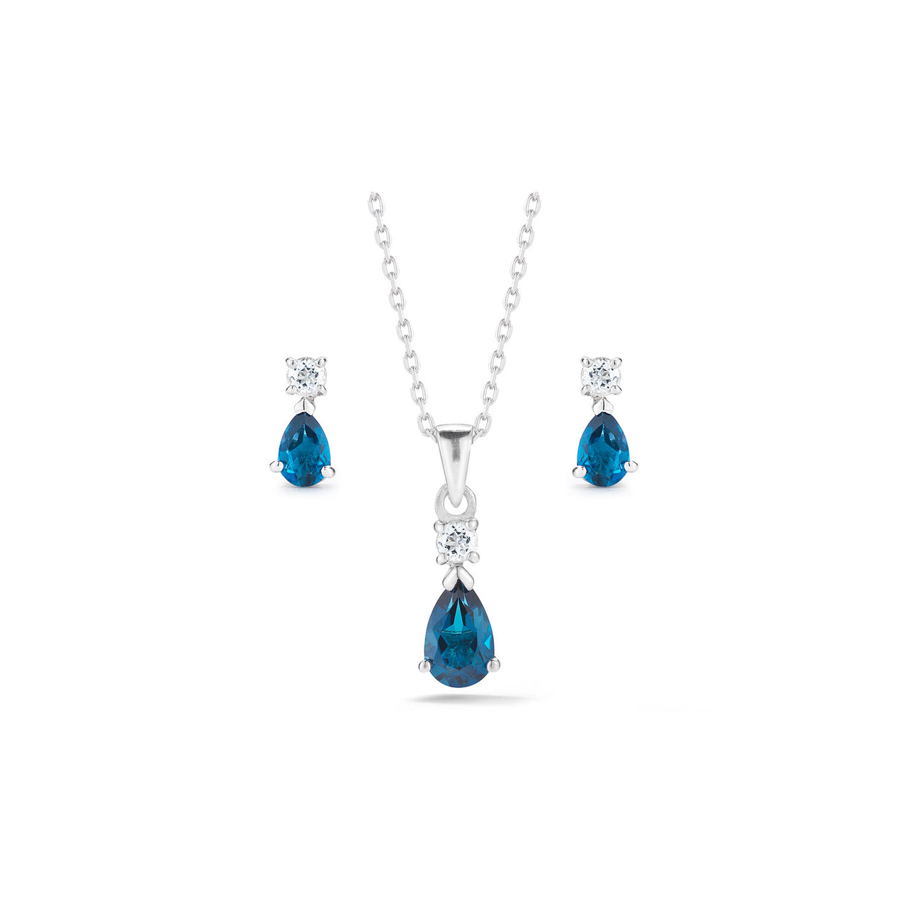Pear London Blue Topaz Necklace and Earrings Set