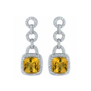 Citrine Yellow Gemstone Dangle Earrings