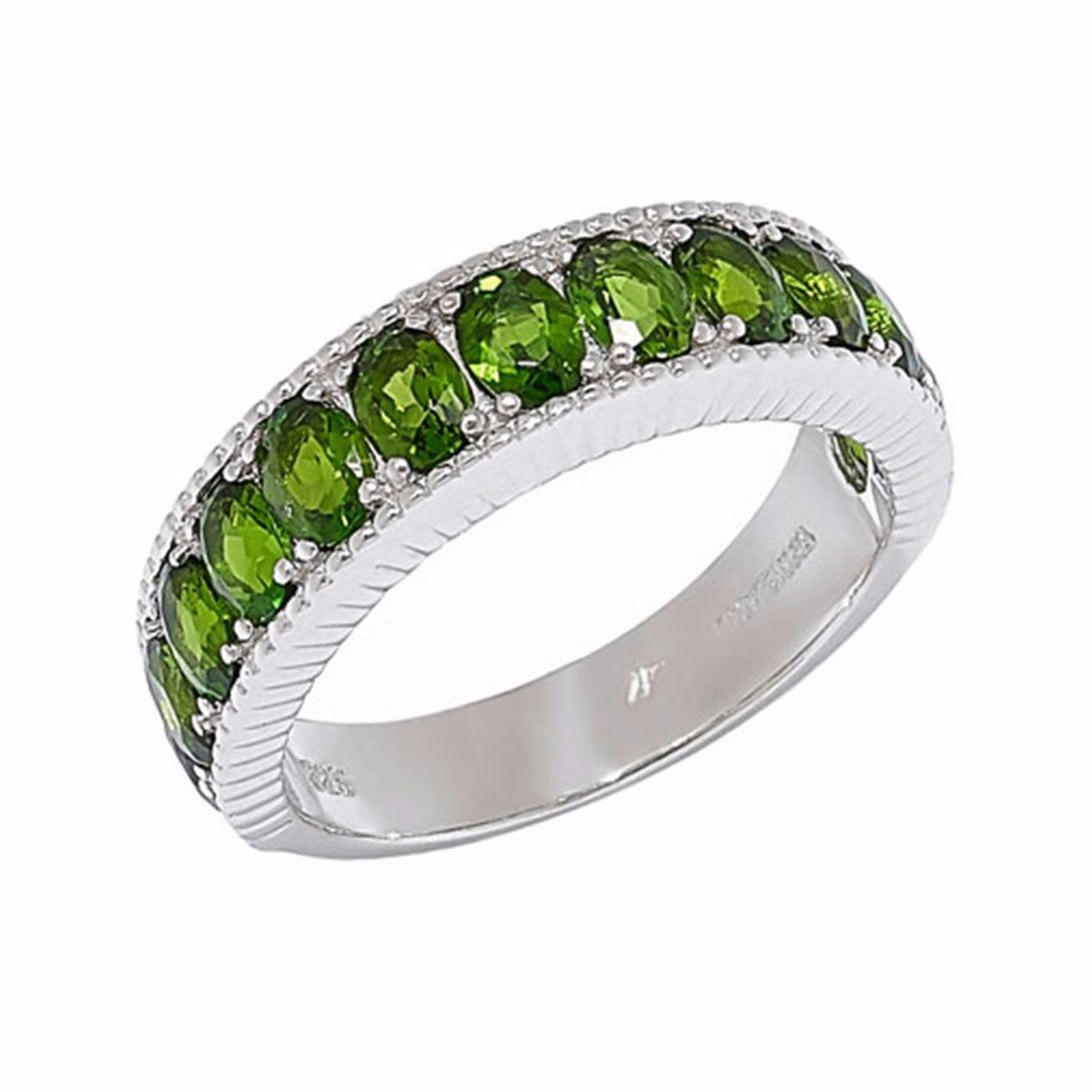 Chrome Diopside Green Gemstone Band Ring