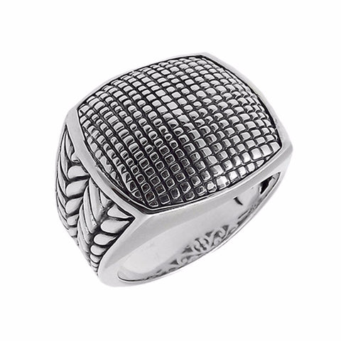Geometric Pattern Sterling Silver Ring