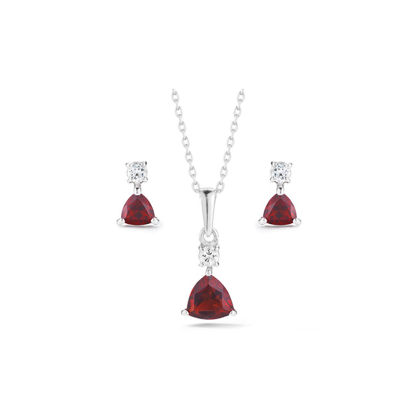 Trillion Garnet Necklace and Earrings Set