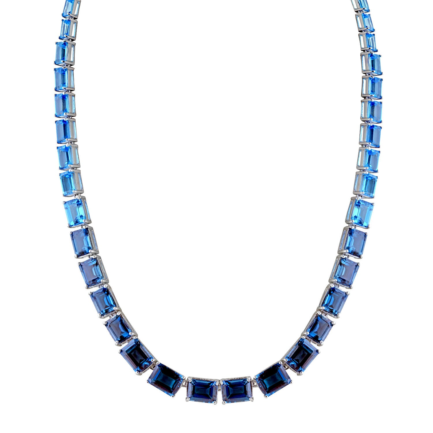 Ombre Emerald Cut Blue Topaz Necklace