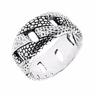 Textured Chain Link Band Ring