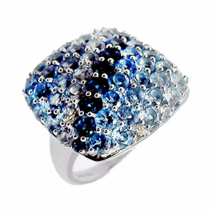 Ombre Blue Topaz Pave Ring