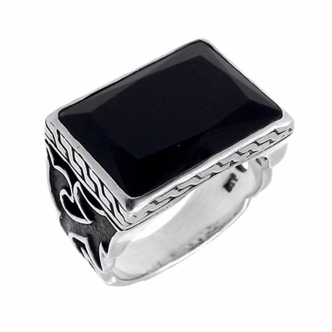 Black and Silver Onyx Tribal Signet Ring