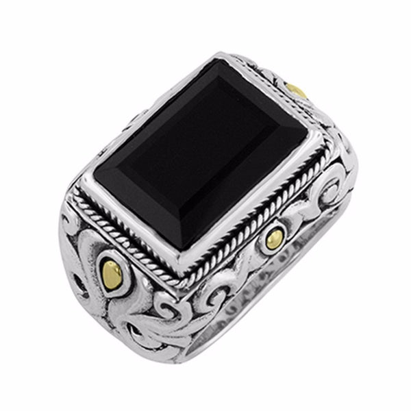 Bold Emerald Cut Onyx Ring