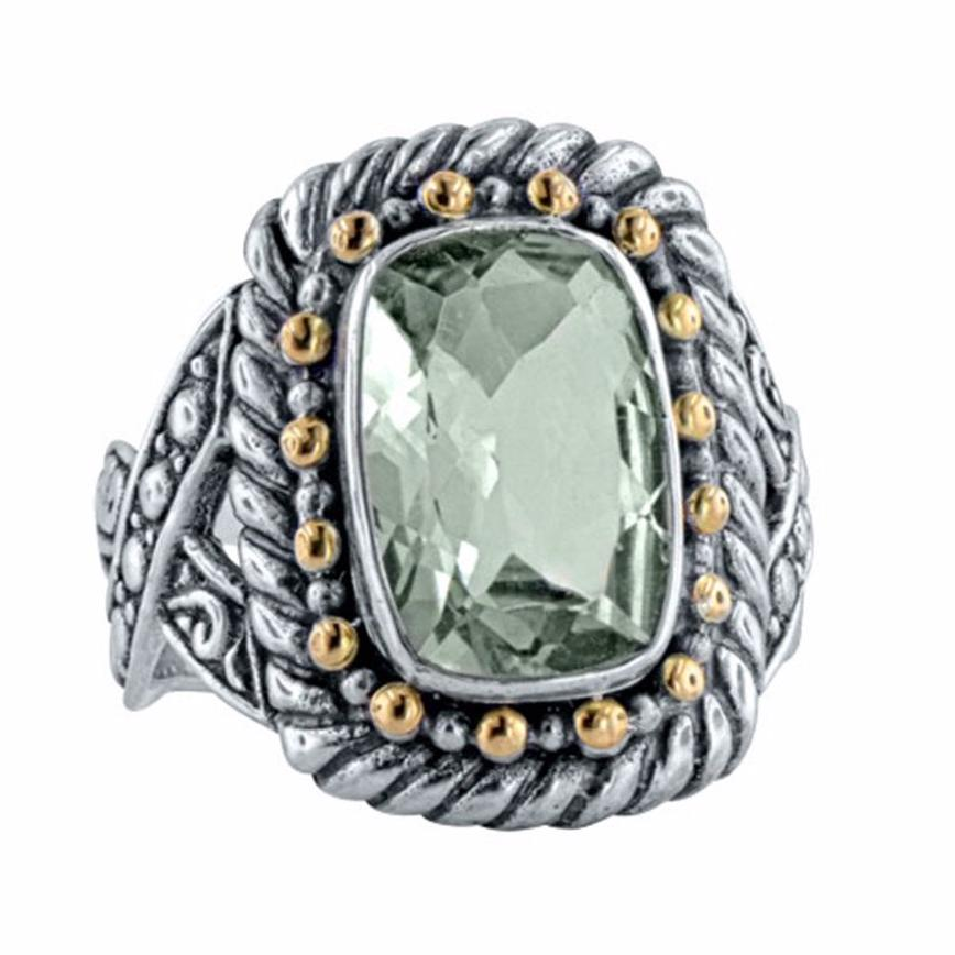 Prasiolite Cable and Beaded Ring