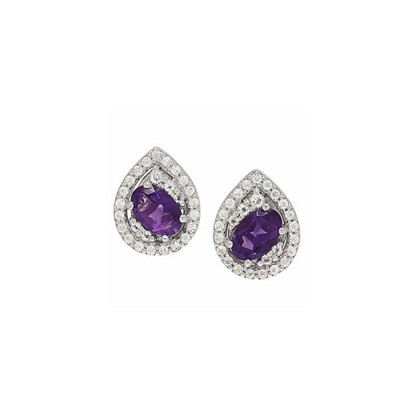 Amethyst White Topaz Silver Stud Earrings