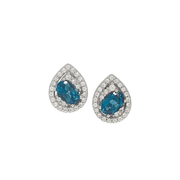 London Blue Topaz White Topaz Silver Stud Earrings