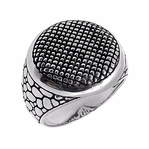 Round Patterned Silver Ring