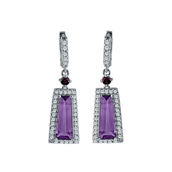 Amethyst, Rhodolite and White Topaz Silver Trapezoid Gemstone Earrings