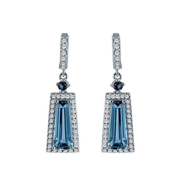 Blue Topaz,  London Blue Topaz and White Topaz Silver Trapezoid Gemstone Earrings
