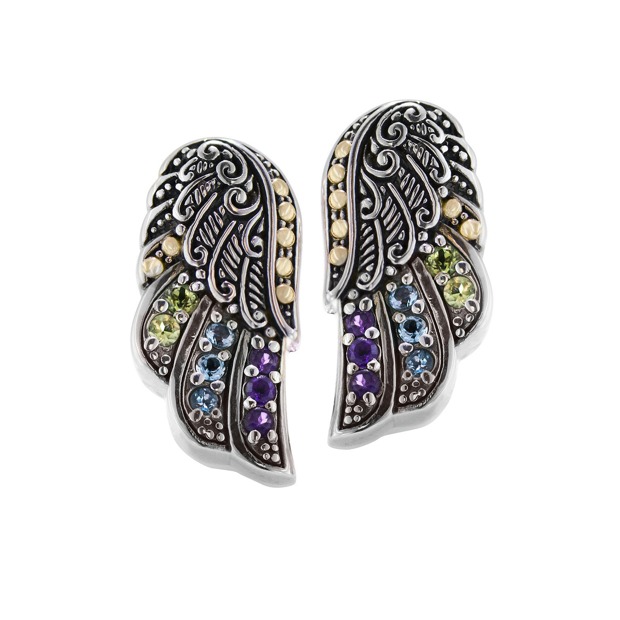 Multi-Stone Wing Earrings