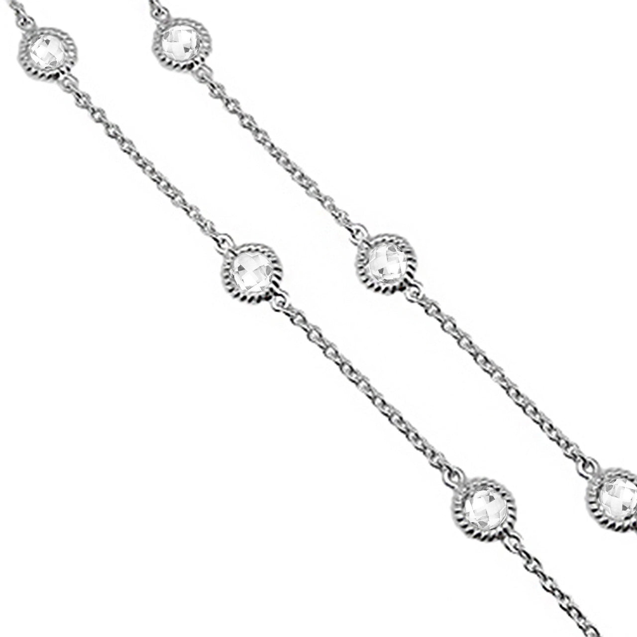 "White Topaz 17"" Station Necklace"