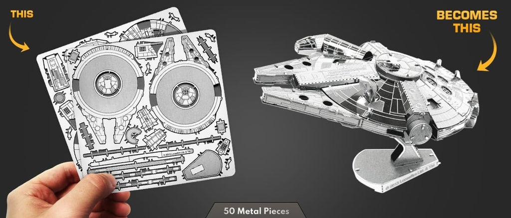 Metal Earth Millennium Falcon before and after