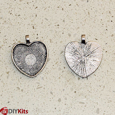 DIY Jewellery Kit - 6 x heart pendant trays & cabochons, chain, 18 designs, glue