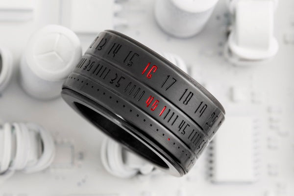 Ring Clock Native - Black with Red LEDs