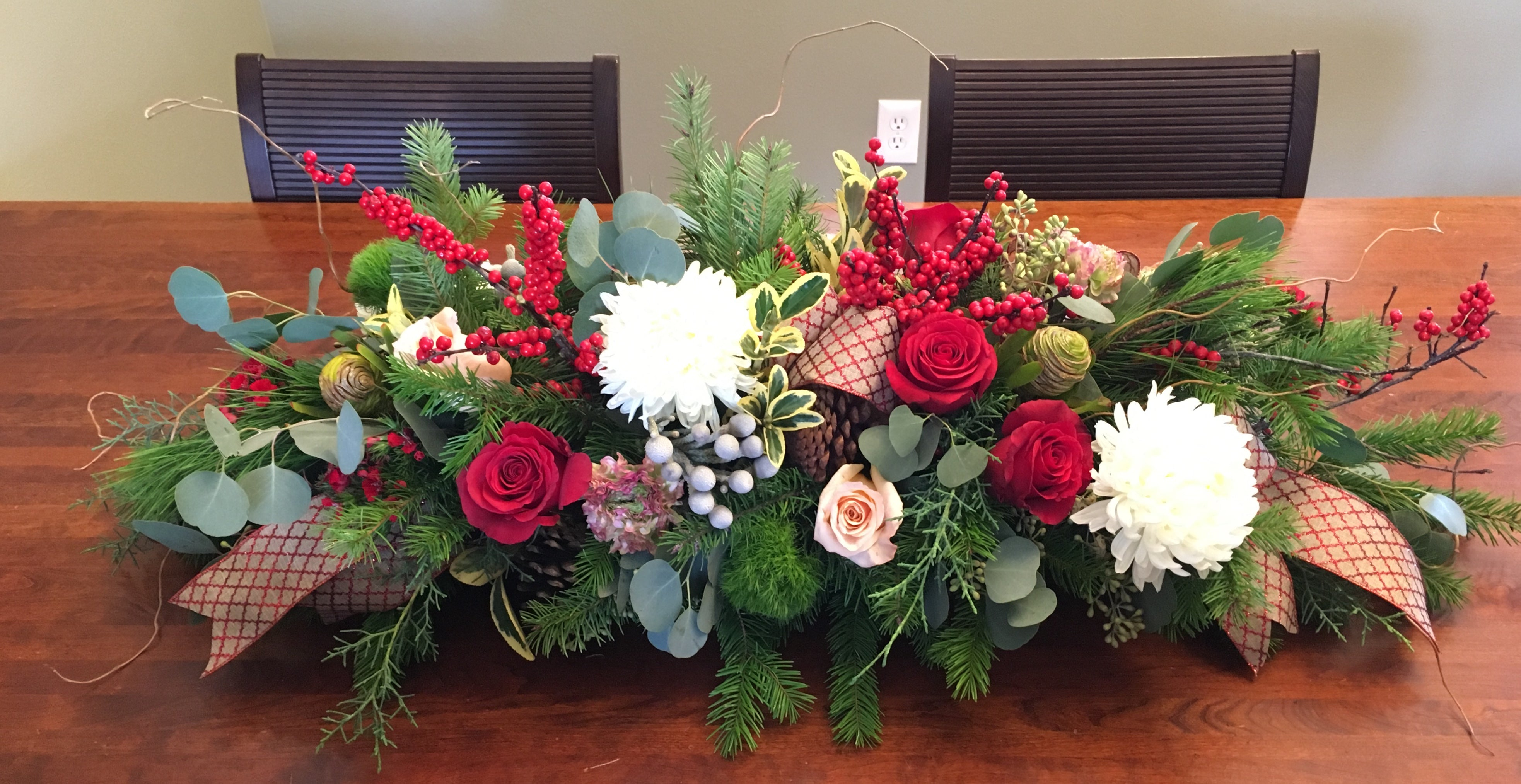 Large Christmas Centerpiece 36 Inches Long Brighter Day Floral Design