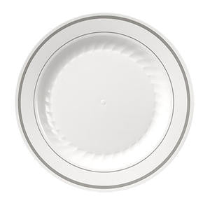 "Masterpiece™ Plate White/Silver 7 1/2"" - Home Of Coffee"