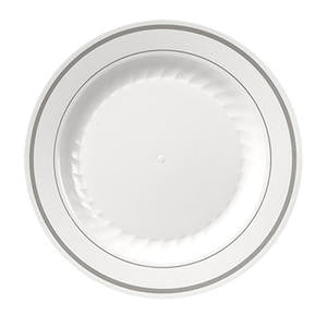 "Masterpiece™ Plate White/Silver 10 1/4"" - Home Of Coffee"