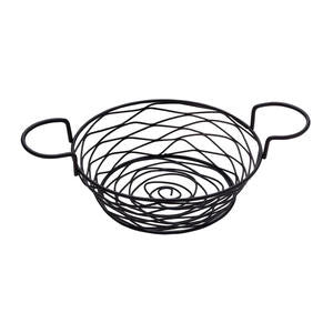 Birdnest Basket with Ramekin Holders Round Black - Home Of Coffee