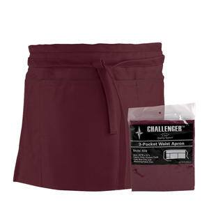 Challenger® 3-Pocket Waist Apron Burgundy - Home Of Coffee