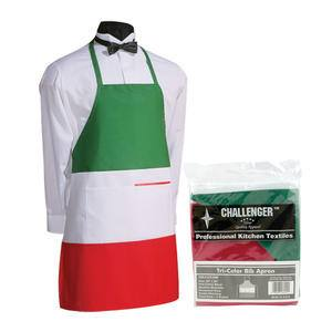 Challenger® Bib Apron 2-Pocket Red/White/Green - Home Of Coffee