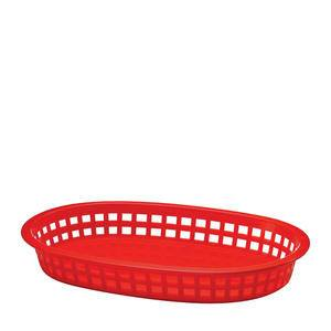 "Chicago Platter Basket Oval Red 10 1/2"" x 7"" x 1 1/2"" - Home Of Coffee"