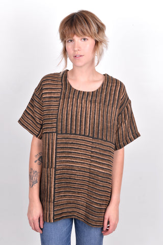 timi gauze top / voloshin / tullarue / hand color blocking / gauze / stripe top