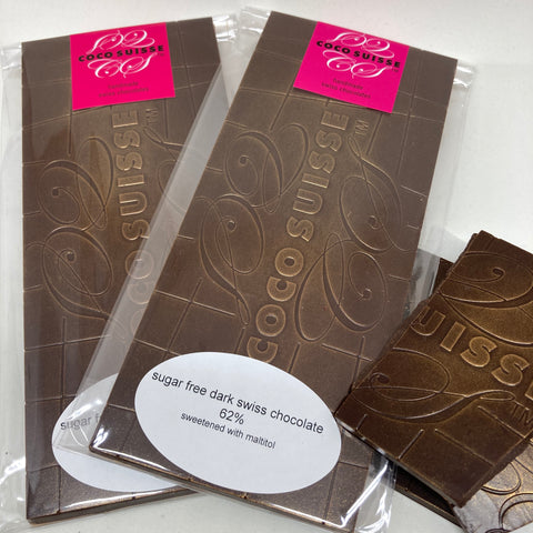 Sugar Free Dark Swiss Chocolate bars - 62%  No more compromise in flavor and texture with a sugar free chocolate. This exquisite chocolate is sweetened with maltitol and will fulfill your chocolate craving without compromising your sugar free diet.