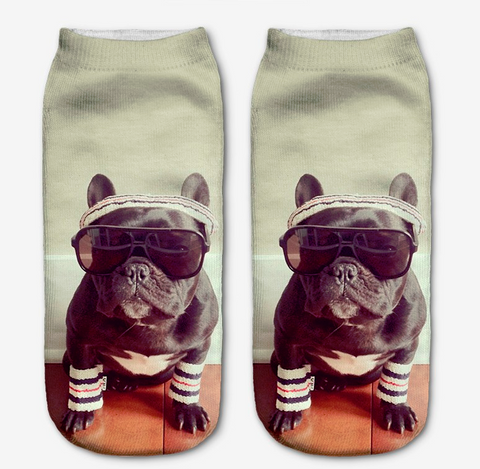 Socks with a picture of a cute pug in a gym outfit.