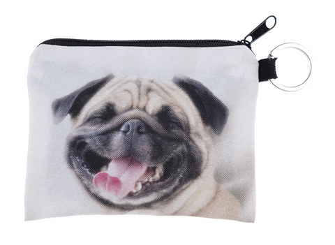 Coin purse with a picture of an adorable happy pug.