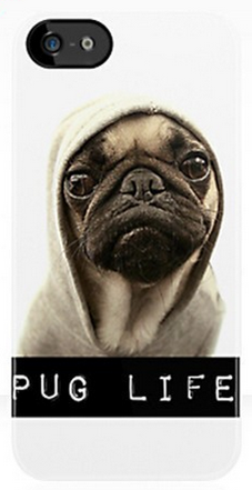 "Phone case with a thugish looking pug in a hoodie and the words ""pug life."""