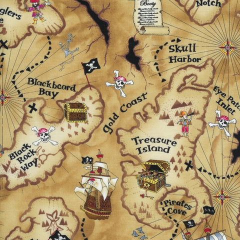 Pirates Cove Treasure Map Tan