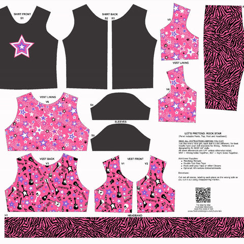Let's Play Dolls Rock Star Costume Panel