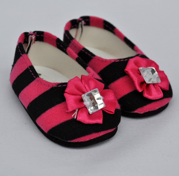 "18"" Doll Striped Flats"