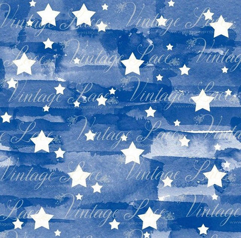Watercolor Stars- Blue