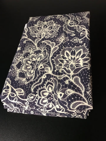 Navy lace - cotton poplin 1 yard cut