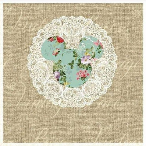 Vintage Mouse- robin's egg floral panel