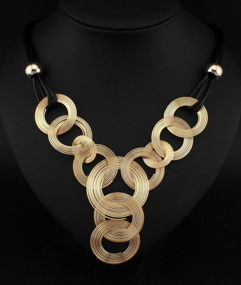Black Leather Golden Chain Weave Necklace