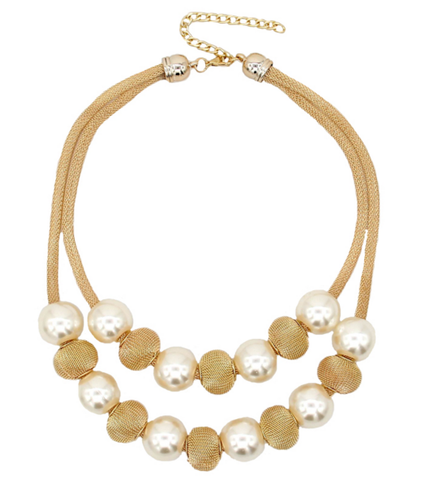 Golden Multi Layer Pearl Necklace