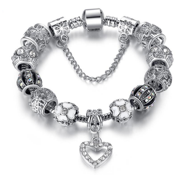 Fashion Silver Heart Charm Bracelet