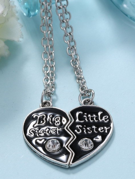 Big Sister Little Sister Couples Heart Necklace