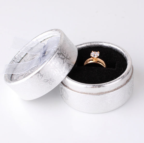 Gold Plated White Crystal Engagement Ring