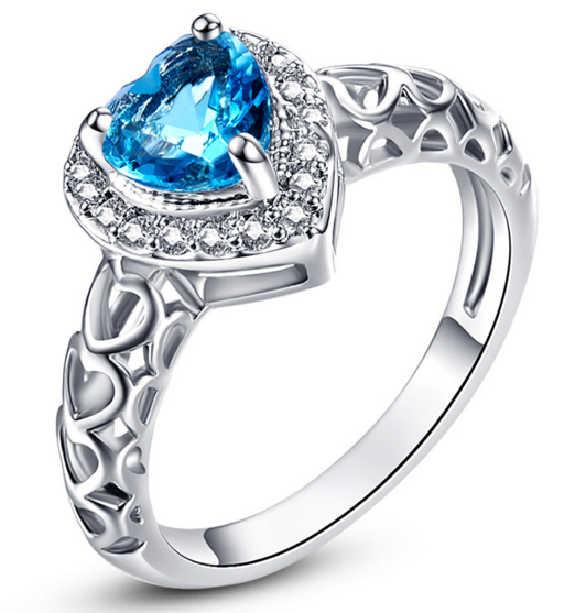 London Blue Topaz & White CZ Wedding Ring