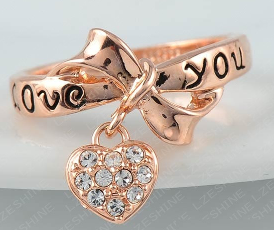 Love You Bowknot Heart Ring