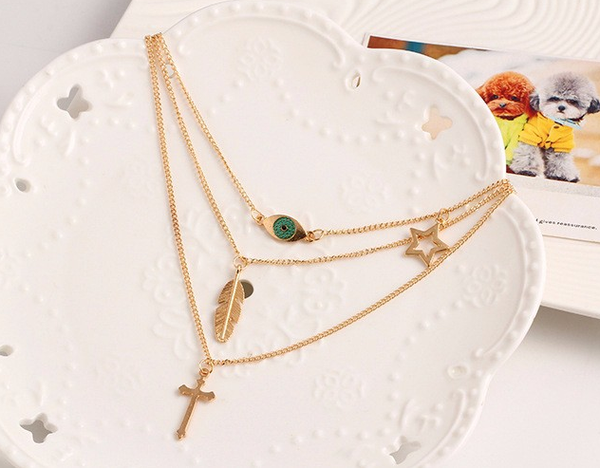 Gold Plated 3 Layer Necklace