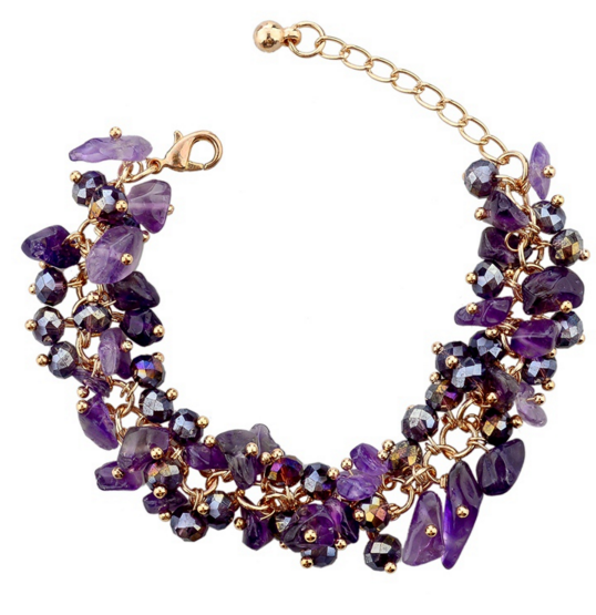 Amethyst Charm Bracelet With Crystal Stones