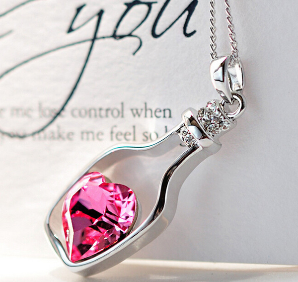 Hot Pink Crystal Pendant Necklace
