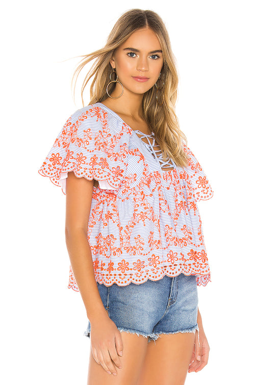 Daisy Embroidered Top